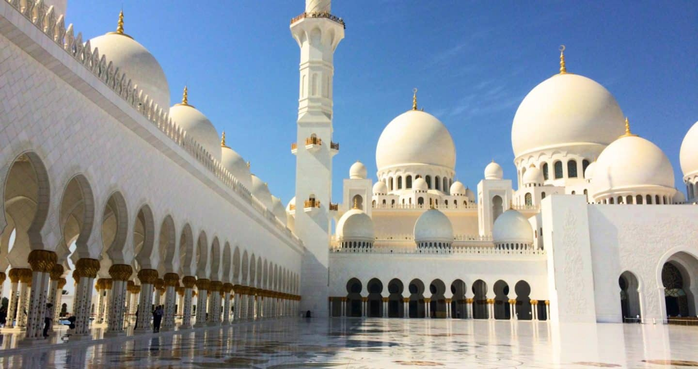 Visiting Sheikh Zayed Grand Mosque in Abu Dhabi.