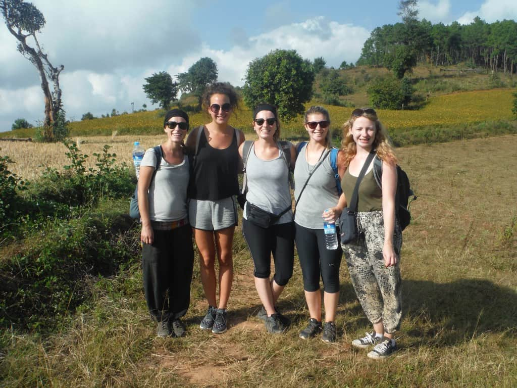 trekking from kalaw to inle lake girls