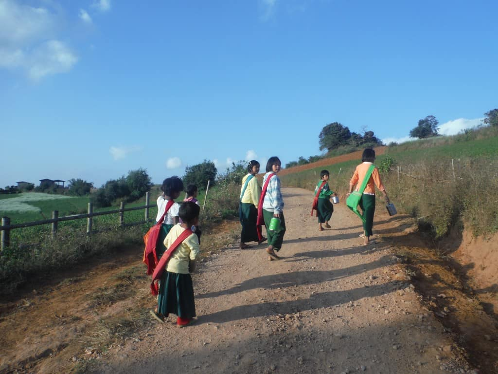 Children walking home from school.