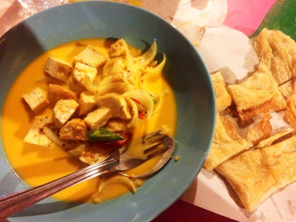 vegetarian in South East Asia red curry tofu koh manta thailans