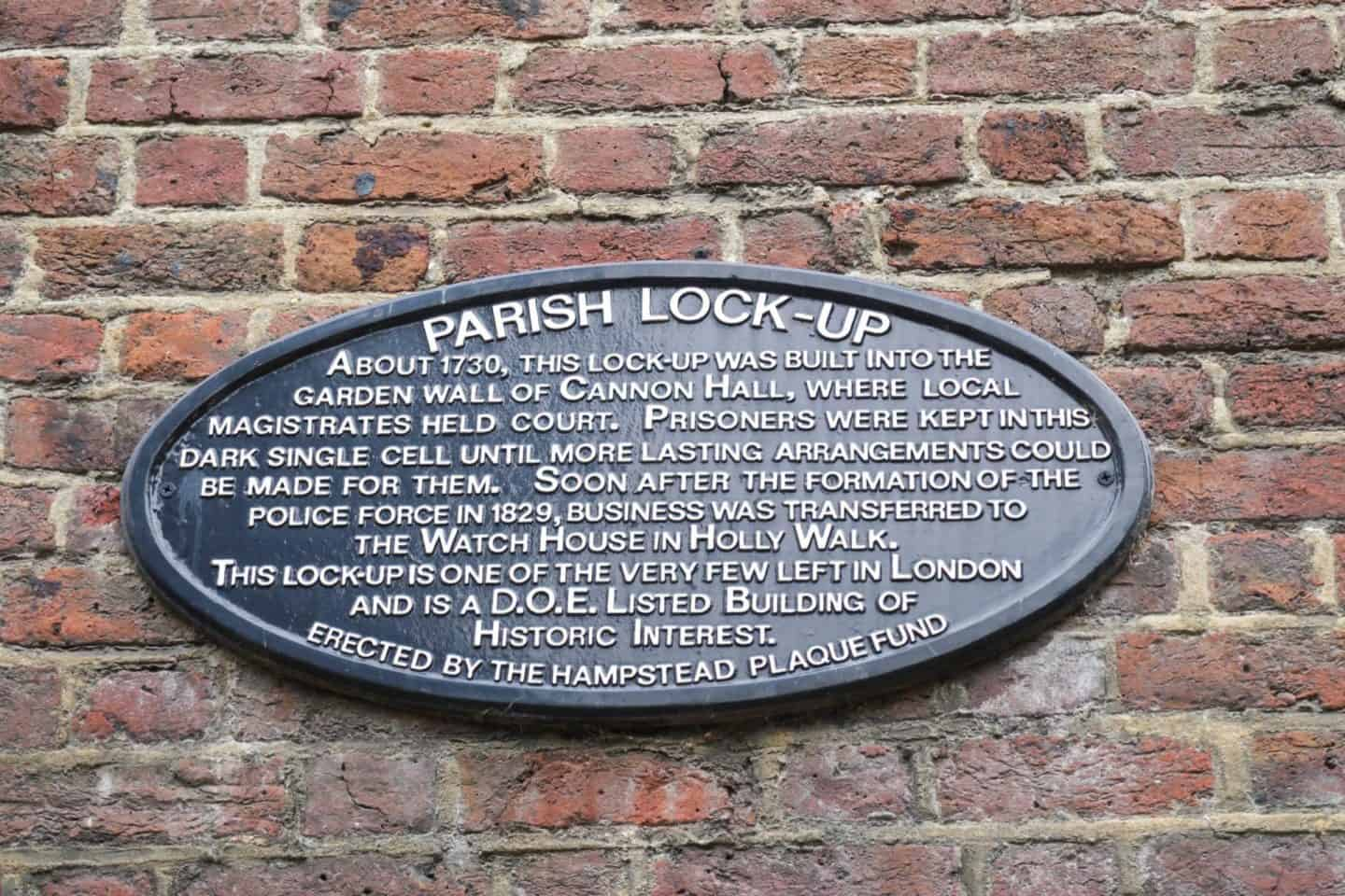hampstead walking guide parish lock up sign
