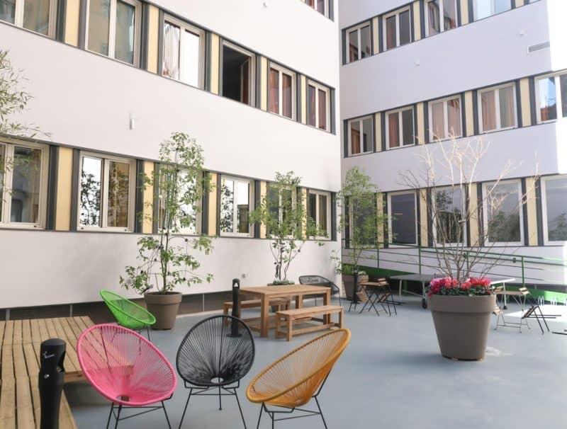 The RomeHello Hostel courtyard