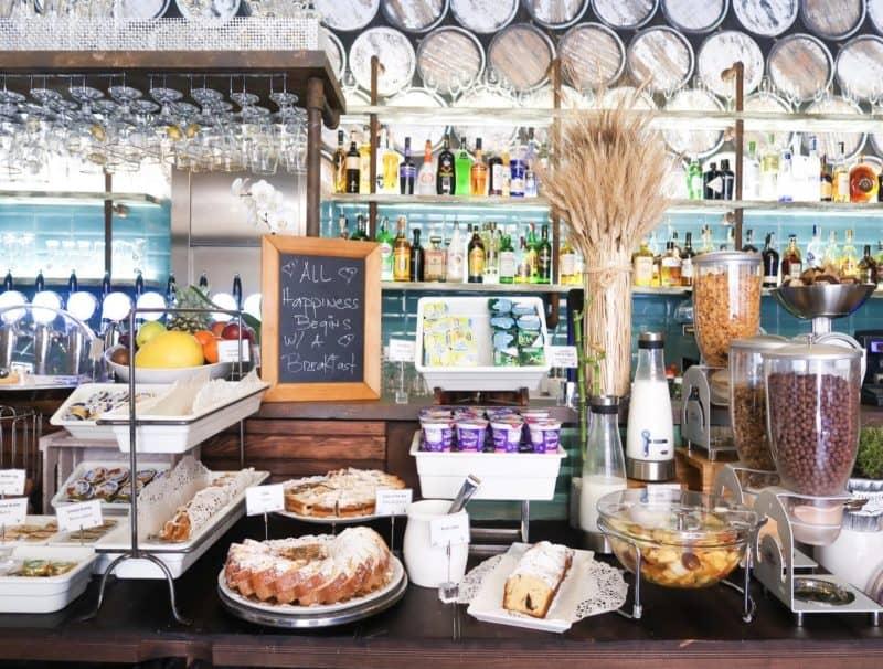 The RomeHello Hostel breakfast buffet