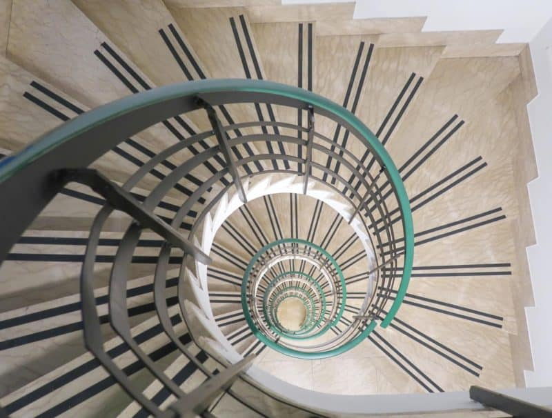 The RomeHello Hostel spiral staircase