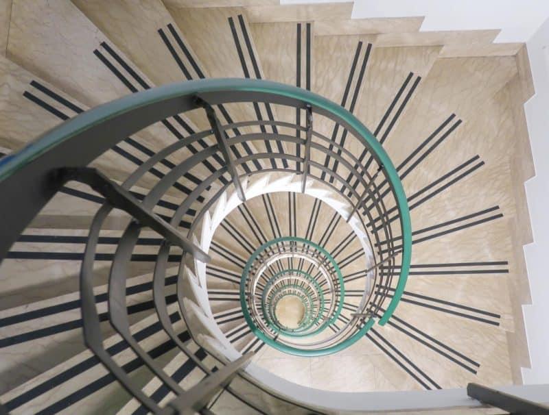 The RomeHello Hostel spiral staircase