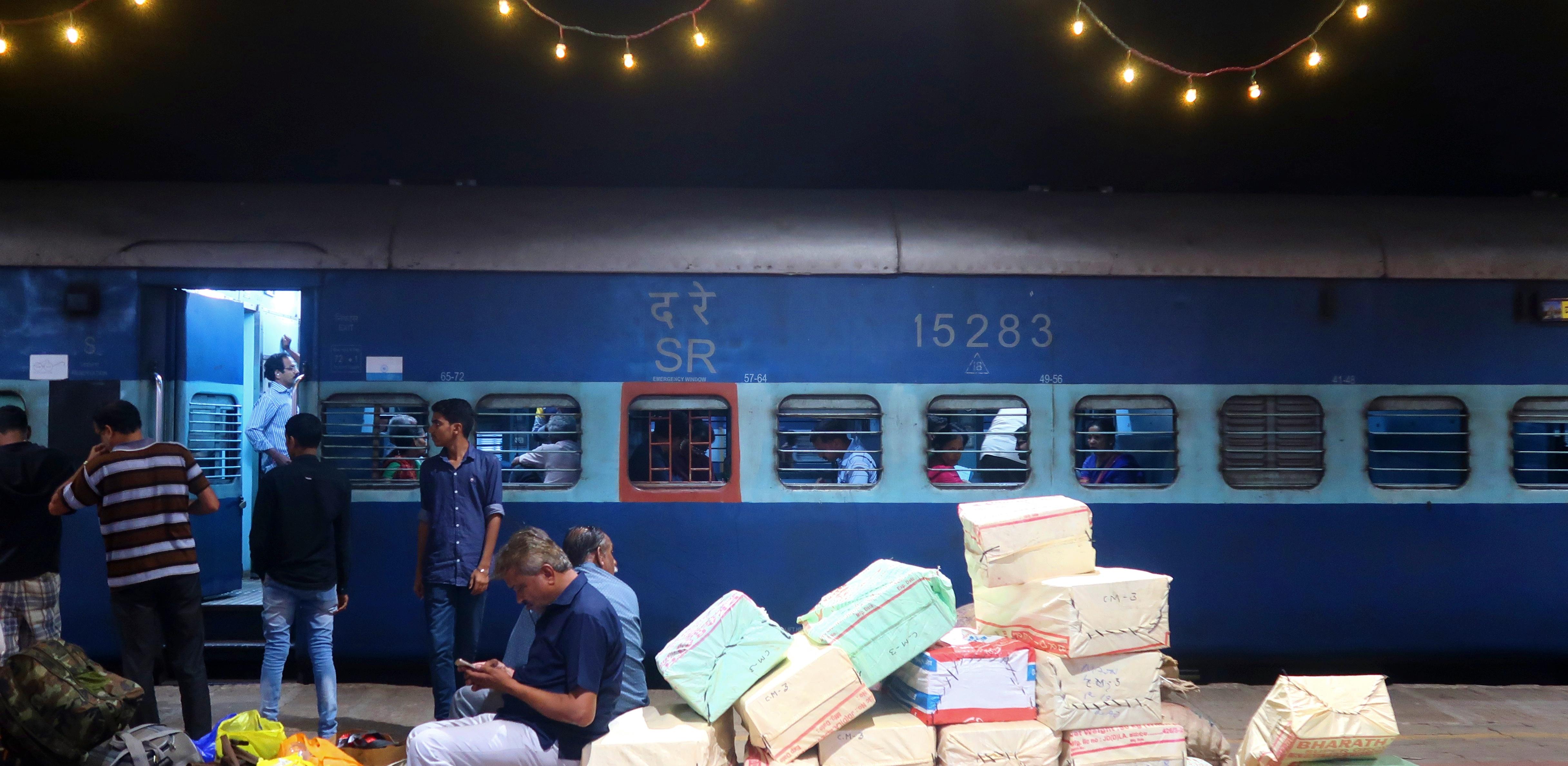 train in india at station at night